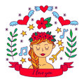 Cute romantic girl doodle vector set