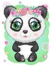 Cute romantic panda with wreath of flowers