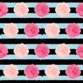 Cute Rose Flower Seamless Pattern Background Vector Illustration