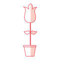 Cute rose garden with pot isolated icon