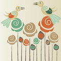 Cute roses with birds Stock Images