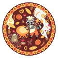 Cute round card with raccoon baker and bakery products. Vector Royalty Free Stock Photo