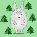 Cute Round Rabbit in Fir Forest
