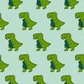 Cute 90s dinosaurs green seamless vector pattern.
