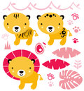 Cute safari animals set isolated on white baby collection vector illustration Stock Images