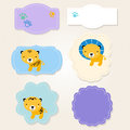 Cute safari animals tags collection beautiful stylized animal for baby vector illustration Stock Image