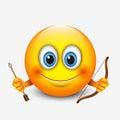 Cute sagittarius emoticon, emoji - astrological sign - horoscope - zodiac - vector illustration Royalty Free Stock Photo
