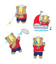 Cute Sailor Bear Cartoon Vector Illustration