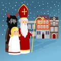 Cute Saint Nicholas with angel, devil, old town houses and falling snow. Christmas invitation card, vector illustration