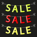 Cute SALE bunting as garlands of contrast letters