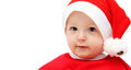 Cute santa baby on white isolated Royalty Free Stock Images