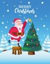 cute santa claus decorating christmas tree snowscape scene Royalty Free Stock Photo