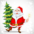 Cute santa claus holding christmas tree and sparkler Royalty Free Stock Photo