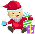 Cute santa claus with presents Stock Photos