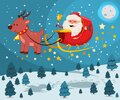 Cute Santa Claus in a sleigh with reindeer. Vector Christmas cartoon character Royalty Free Stock Photo