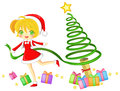 Cute santa girl is creating a christmas tree with her magical ribbon create by vector Royalty Free Stock Photography