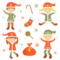 Cute santa helpers illustration of Stock Photography