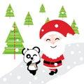 Cute Santa and panda is walking together on snow background cartoon, Xmas postcard, wallpaper, and greeting card