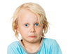 Cute scared boy a funny pulling funny face isolated on white Stock Image