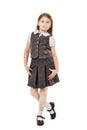 Cute School Girl Isolated On W...