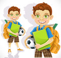 Cute schoolboy with backpack and a textbook Stock Photography