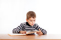 Cute schoolboy is reading a book Royalty Free Stock Photo