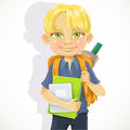 Cute schoolboy textbooks notebooks backpack Stock Photography