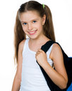 Cute schoolchild with knapsack Royalty Free Stock Photo