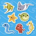 Cute sea animal stickers 01 Royalty Free Stock Images