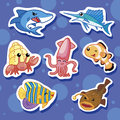 Cute sea animal stickers 02 Stock Image