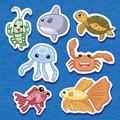 Cute sea animal stickers 03 Stock Photography