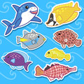 Cute sea animal stickers07 Royalty Free Stock Photo