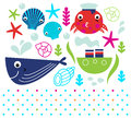 Cute sea animals set and design elements mix vector illustration Royalty Free Stock Images