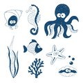 Cute Sea animals set. Doodle children drawings.