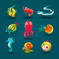 Cute sea life creatures cartoon animals set with fish octopus jellyfish isolated vector illustration Stock Photo
