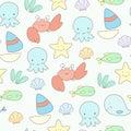 Cute sea life seamless vector background