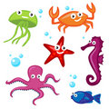 Cute Sea Monsters Royalty Free Stock Images