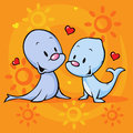 Cute seal in love Royalty Free Stock Photo
