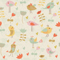 Cute seamless background with birds and flowers in cartoon style Royalty Free Stock Images