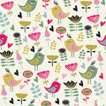 Cute seamless background with flowers and birds in cartoon style Stock Photo