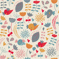 Cute seamless background with flowers and birds in cartoon style Royalty Free Stock Photo