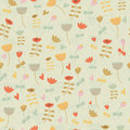 Cute seamless background with flowers in cartoon style Stock Image