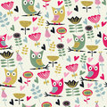 Cute seamless background with flowers and owls in cartoon style Royalty Free Stock Photos