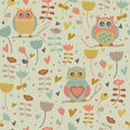 Cute seamless background with flowers and owls in cartoon style Stock Photos