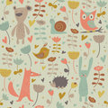 Cute seamless background with funny bear owl rabbit fox snail hedgehog bird and flowers in cartoon style Royalty Free Stock Images