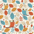 Cute seamless background with funny owls and leaves in cartoon style Royalty Free Stock Photography