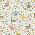 Cute seamless background with geese and flowers in cartoon style Stock Photography