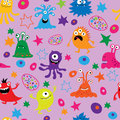 Cute seamless background with monsters and patterns
