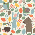 Cute seamless background with owl snail hedghog bear and rabbit in autumn forest can be used as wallpapers or pattern fill Royalty Free Stock Image