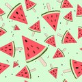 Cute seamless background with watermelon slices. Watermelon on a stick. Summer time. Vector
